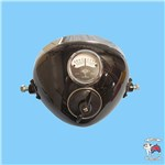 "HEADLIGHT 8"" FLAT FROSTED GLASS AMMETER/ SWITCH"